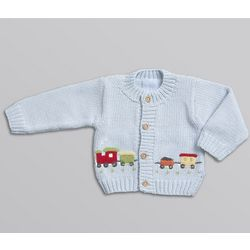 Applique Train Cardigan Sweater