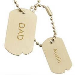 Antique Brass Horizontal Double Dog Tag