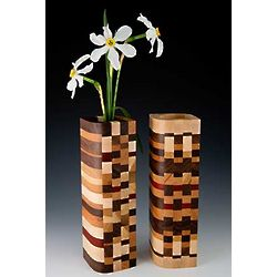 Mosaic Wood Design Bud Vase