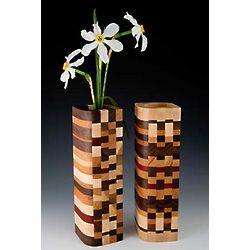 Mosaic Wood Design Bud Vase