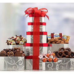 Chocolate Holiday Gift Tower
