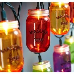 Colorful Mason Jar Outdoor String Lights