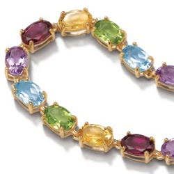 Multi-Gem 10k Gold Tennis Bracelet