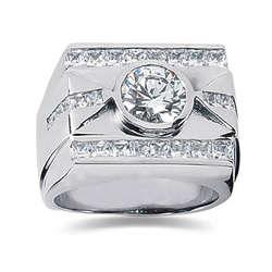 1.80 ctw Men's Diamond Ring in 14K White Gold