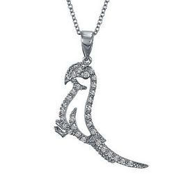 Sterling Silver CZ Accent Parrot Bird Pendant with Chain Necklace
