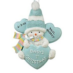 Baby in Blue Stocking Cap Personalized 1st Christmas Ornament