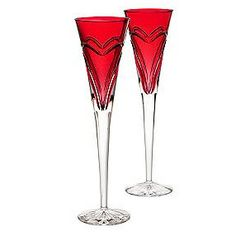 Love and Romance Crimson Waterford Crystal Champagne Flutes
