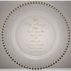 Golden Beads 50th Wedding Anniversary Glass Plate