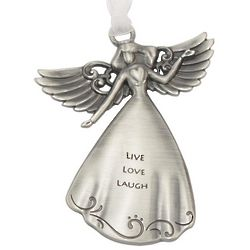 Personalized Live, Love, Laugh Pewter Angel Ornament