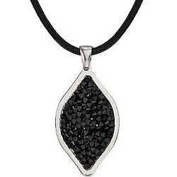 Black Swarovski Crystals Italian Marquise Necklace
