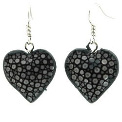 Black Stingray Leather Heart Shaped Dangling Earrings
