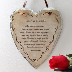 Love is Patient Bible Verse Heart Slate Plaque