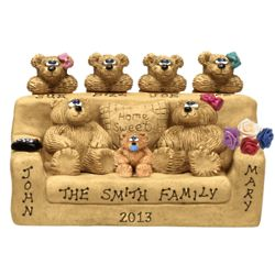 Bear Couple with Kids on Couch Personalized Figurine