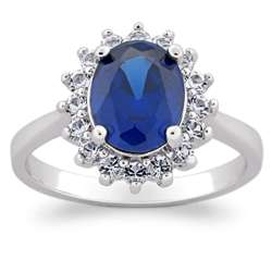 Faux Sapphire and Crystal Ballerina Ring