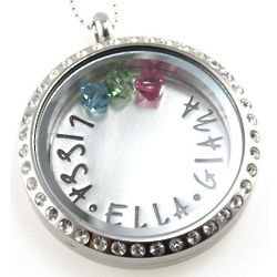 Personalized Floating Glass Locket and Birthstone Necklace