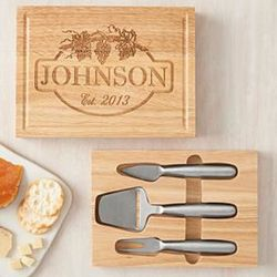 Personalized Cheese Board and 3-Piece Knife Set