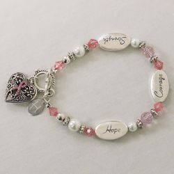 Hope, Courage, and Strength Breast Cancer Awareness Bracelet
