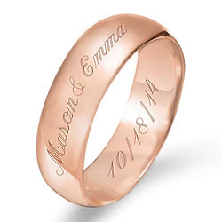 Couple's 6mm Rose Gold Message Ring with Personalized Engraving