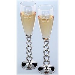 Personalized Open Heart Champagne Flutes