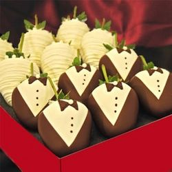 Formal Chocolate Dipped Strawberries Decorated as Brides & Grooms
