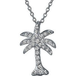 Sterling Silver CZ Accent Palm Tree Pendant with Chain Necklace