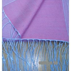 Two Tone Blue and Purple Reversible Pashmina Wrap