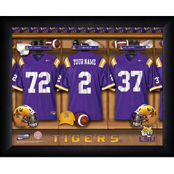 LSU Tigers Personalized Football Locker Room Framed Print