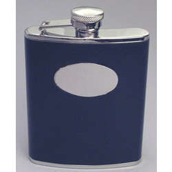 Engraved Black Leather Whiskey Flask