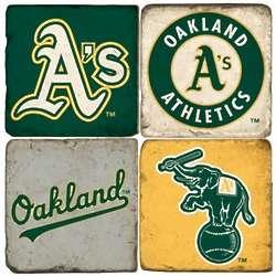 Oakland A's Tumbled Italian Marble Coasters