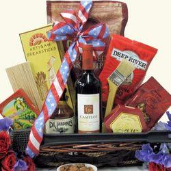 Celebrate America Patriotic BBQ Themed Wine Gift Basket