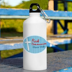 Personalized Blue First Communion Water Bottle