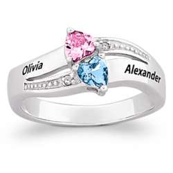 Sterling Silver Couple's Name and Heart-Shaped Crystal Ring
