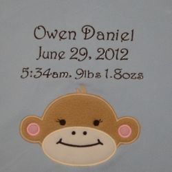 Fuzzy Monkey Personalized Applique Baby Blanket