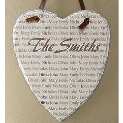 Family Name Personalized Heart Slate Wall Plaque