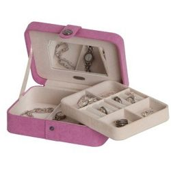 Pink Giana Plush Fabric Jewelry Box with Lift Out Tray