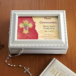 Personalized Communion or Confirmation White Music Box