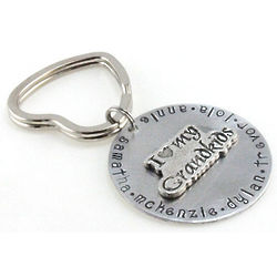 Personalized I Love My Grandkids Hand Stamped Keychain