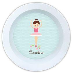 Personalized Ballerina Melamine Bowl