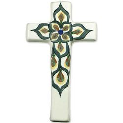 Fair Trade Floral Cross Ceramic Wall Art