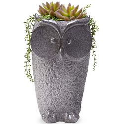 Owl Planter with Stone Finish