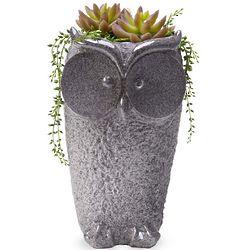Owl Planter with Stone Finish
