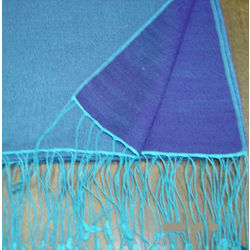 Peacock Blue Two Tone Reversible Pashmina Wrap