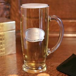 Glass Tankard with Engraved Pewter Medallion