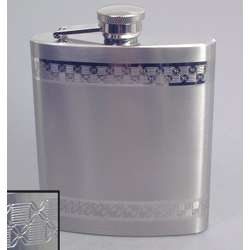 Engraved Double-Band Squares Patterned Flask