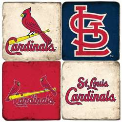 St. Louis Cardinals Tumbled Italian Marble Coasters