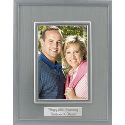 Glass Silver Fabric 25th Anniversary Photo Frame