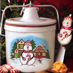 Snowman Stoneware Cheese Spread Crock