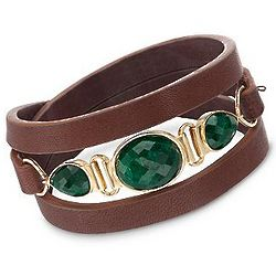 18.40ct T.W. Emerald and Brown Leather Bracelet