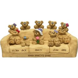 Mom and Kid Bears on Couch Personalized Figurine