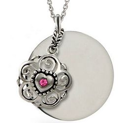 Sterling Silver Round Tag with Filigree Birthstone Heart Pendant